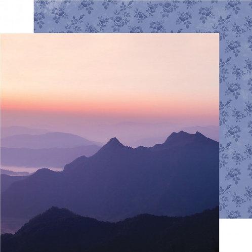Kaisercraft paper 30.5x30.5cm Misty mountains sunset