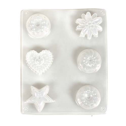 Giessform Petit Fours, 4-4,5cm ø 6 Motive