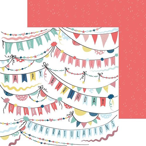 Kaisercraft paper 30.5x30.5cm Oh happy day! garlands