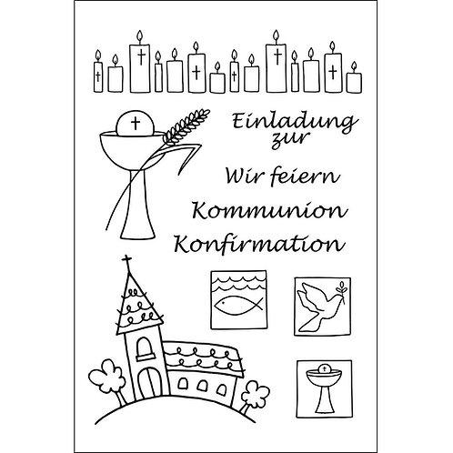 Stempel Clear, Kommunion/Konfirmation, A7, 10-teilig, transparent