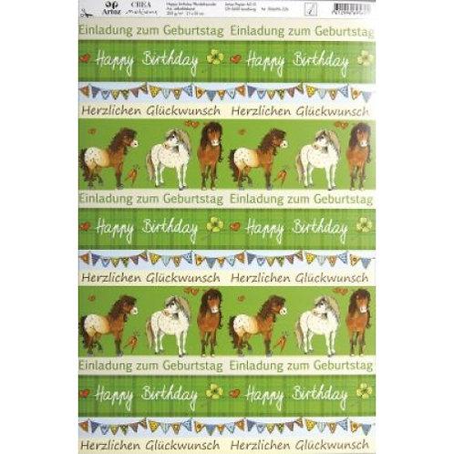 Artoz Papier selbstkl., Happy birthday Pferdefreundin, A4 200 gm2
