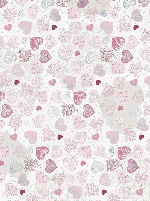 "Motivkarton ""Herzen groß"" A4 (21 x 31 cm inkl. Codierleiste) rosa"