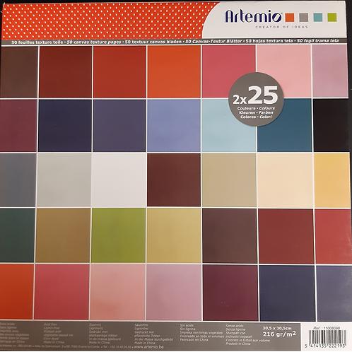 Artemio Papier Block 30.5x30.5cm 25Farben à 2 Blatt