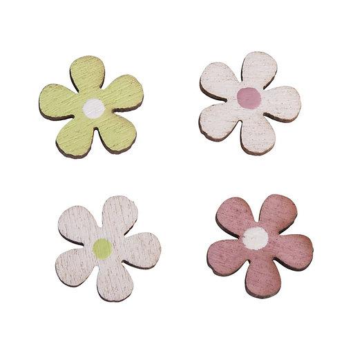 Holz Streuteile Mini Blumen, 1,1cm ø 4 Farben, SB-Btl 36Stück