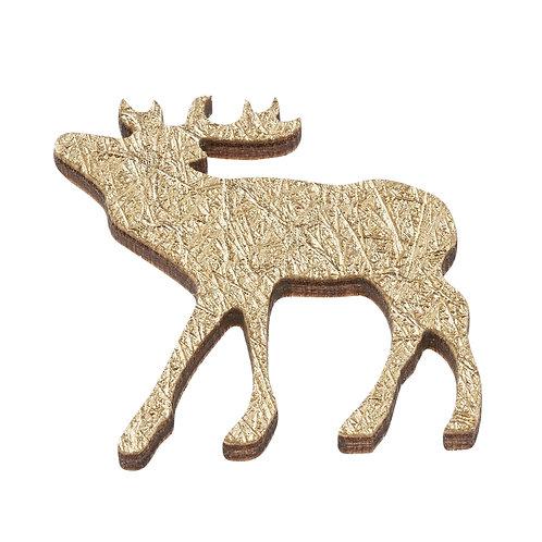 Holzstreuteile Hirsch 3cm, gold, 8St