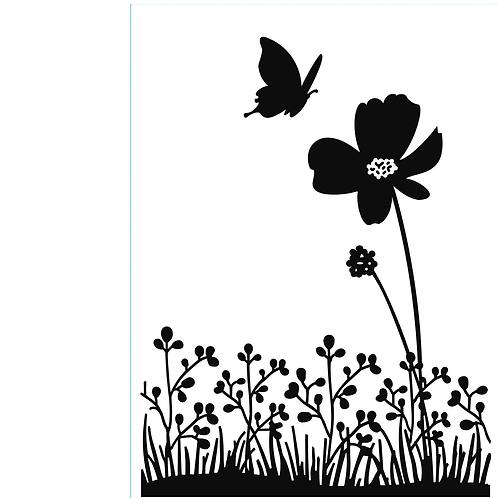 Darice Prägeschablone Schmetterling auf Blume 10.7x14.6cm