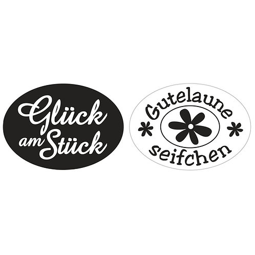 Labels Glück am St., Gutelaune S., 35x25mm, oval, SB-Btl 2Stück