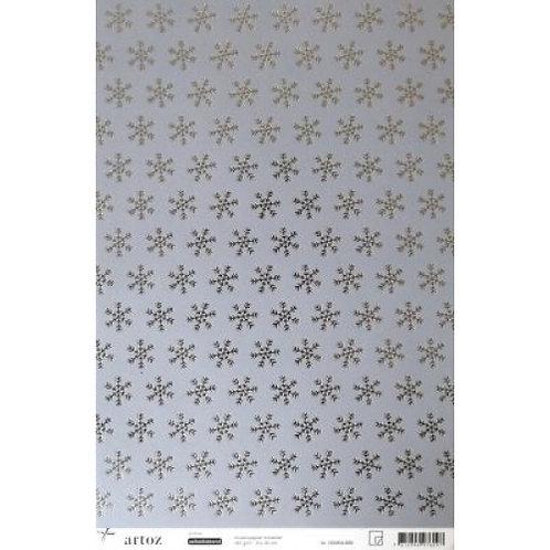 Artoz Papier selbstklebend, Schneestern silber, A4+ 180gm2