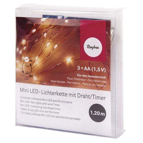 Mini LED-Lichterkette m. Draht/Timer, lichtgelb 120cm, 10 LED's, Batteriebetrieb