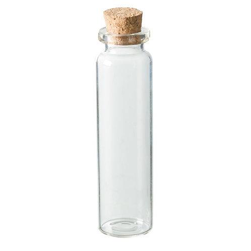 Flasche Glas, mit Korken, D= 22 x 80 mm, klar