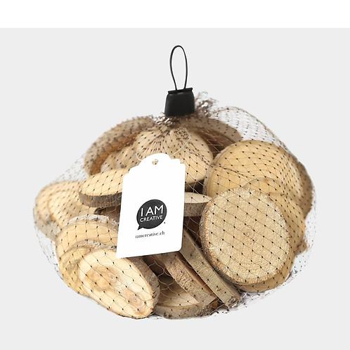 Holzscheiben 200 g, braun, ca. ø 3-6 x 0.8 cm 200 g im Netz