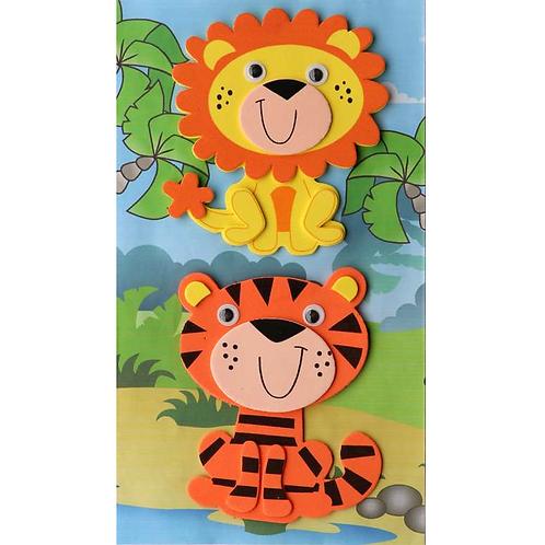 Moosgummi 3D Löwe/Tiger 10x12/14x9cm selbstklebend