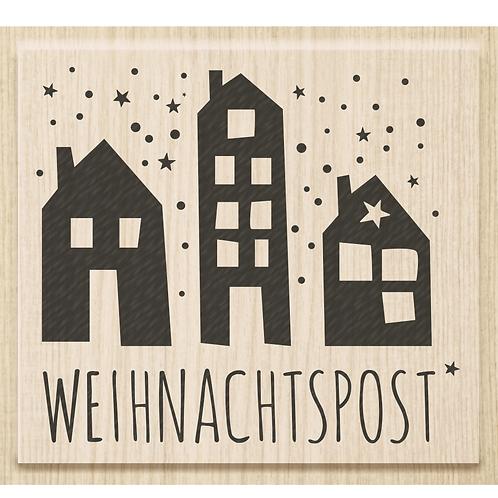 """Holz Stempel Weihnachten """"Weihnachtspost"""" Motivgrösse 6.8x6cm"""