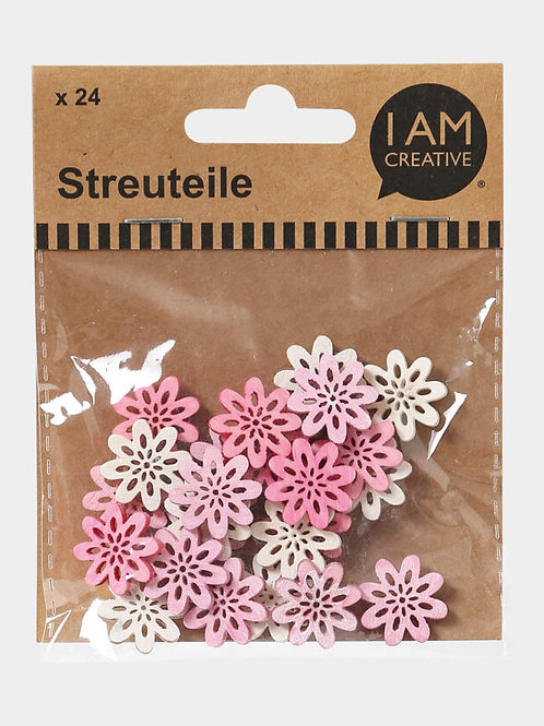Holz Streuteile Blume, ca. 2 cm, 24Stk.