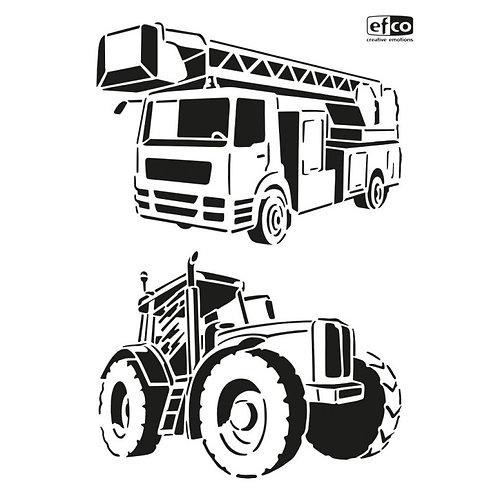 Stencil Schablone A4 Traktor und Feuerwehrauto 2-teilig