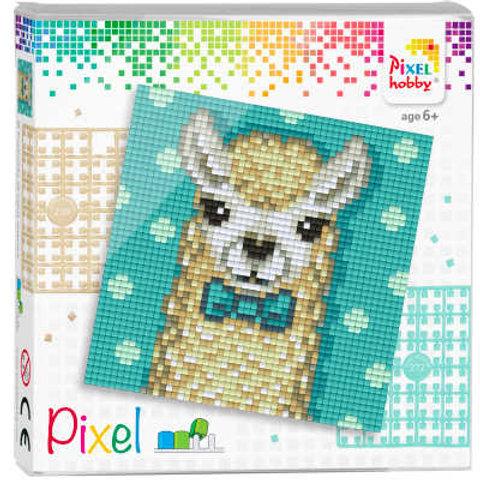 Pixel Set Quadrat Alpaca- Bild aus 4 quadratischen Grundplatten