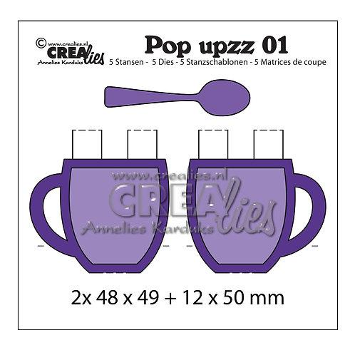 Crealies Pop upzz Stanzschablone no.1 Tassen & Löffel