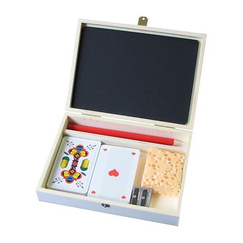 Jassbox mit Inhalt, Sperrholzbox mit Verschluss