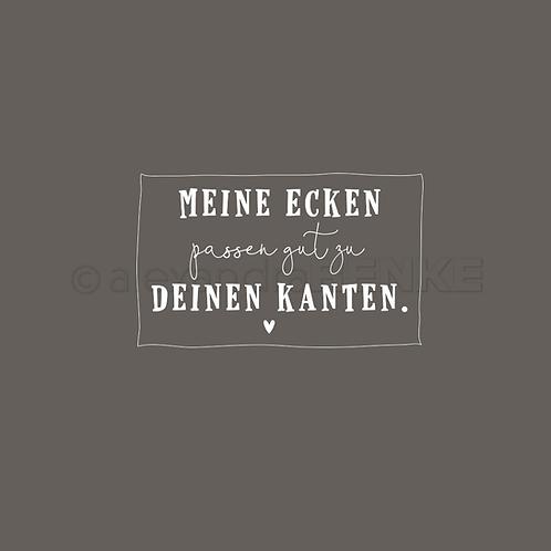 """Holz Stempel """"Meine Ecken passen gut"""" 45x28mm"""