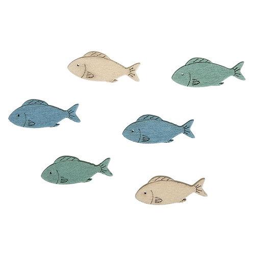 MDF Streuteile Fische 3x1cm, 3 Farben, SB-Btl 15Stück