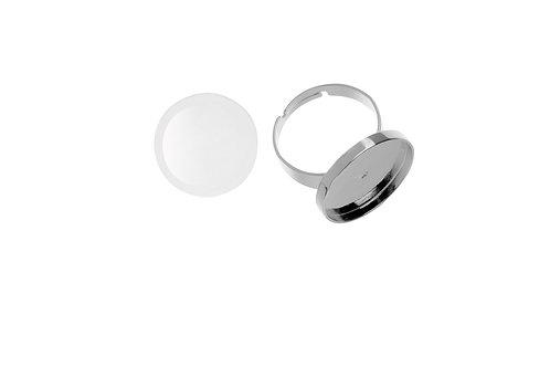 Cabochon Fingerring rund, silberfarben, 21mm