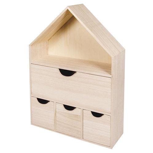 Holz Haus mit 4 Schubladen, FSC 100% 28x10x41cm