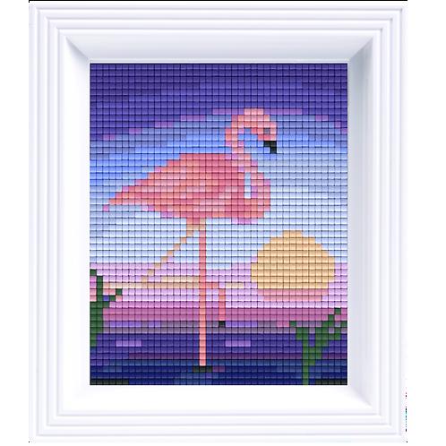 Pixelbild Set Flamingo - mit Rahmen