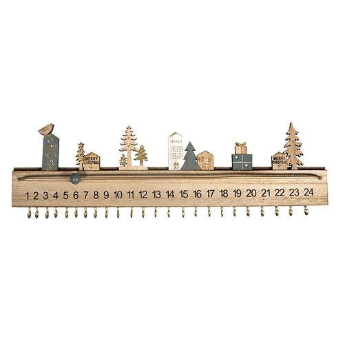 Holz Adventskalender 40x3,5x12cm, +2Wandaufhänger, Box 1Stück