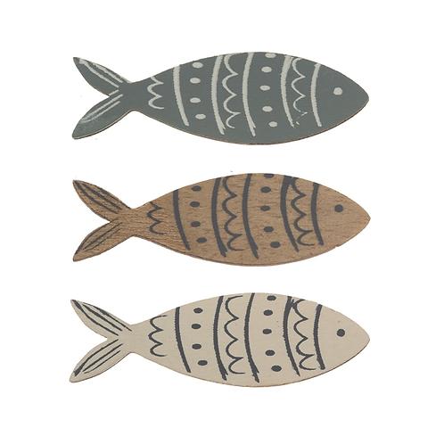 Holz Streuteile Fische 5x1.6cm, 9Stk sortiert