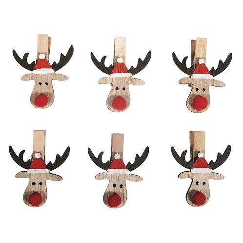 Holz Weihnachtselch auf Klammer, 3.8x4.7cm, SB-Btl 6Stück