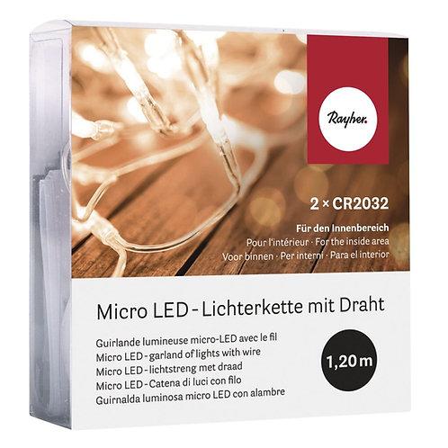 Micro LED-Lichterkette mit Draht 120cm, 10 Lichter, SB-Box 1Stück