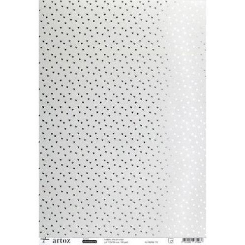 Artoz Papier selbstklebend, Herzen silber, A4 180 gm2