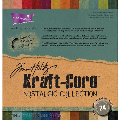 Tim Holtz kraft-core, Nostalgic Collection, 24 Blatt assortiert