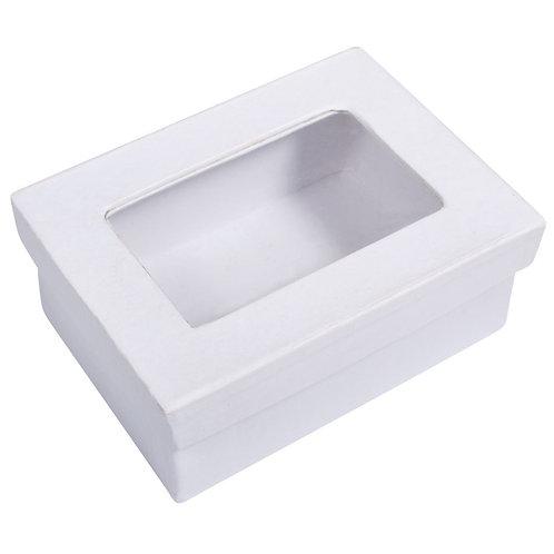 Pappm. Geschenkbox, FSC Rec. 100% 10,5x7,7x4,4cm, m. Fenster, weiß