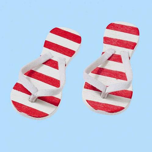 Flip Flops rot gestreift 3cm, 2Paar