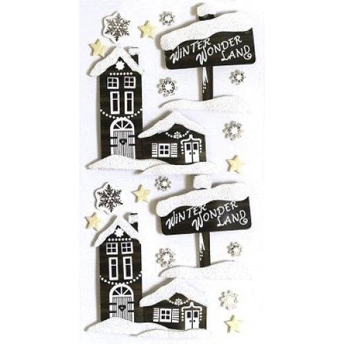 Artwork Sticker Dorf im Winter 155x65x5mm