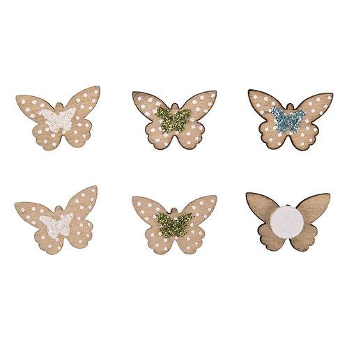 Holz Streuteile Mini Schmetterlinge 2,5x1,4cm, m.Klebep., SB-Btl 12Stück