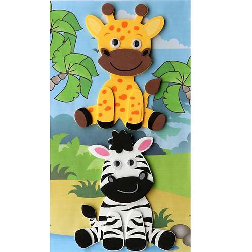 Moosgummi 3D Zebra/Giraffe 11.5x12.5/8m8cm selbstklebend
