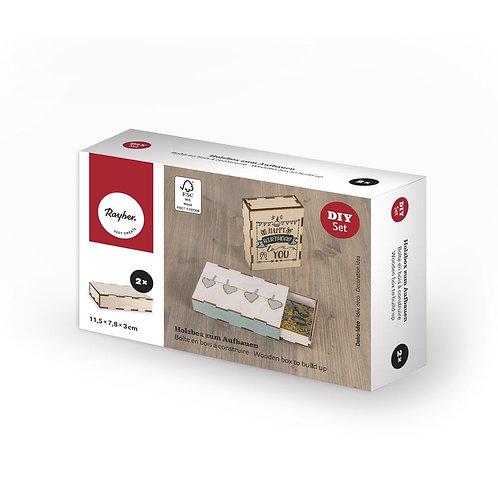 Holzbox zum Aufbauen, FSC Mix Credit 11,5x7,8x3cm, Box 2Stück, natur
