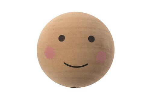 Holzkugel natur, Gesicht bemalt, 3.5cm, 4Stk.