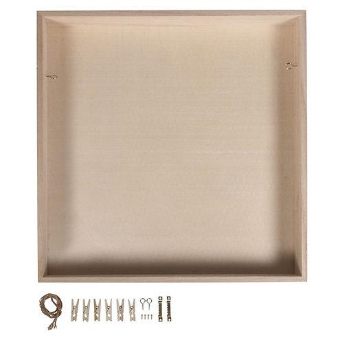 Holz Rahmen m. Rückwand, FSC Mix Credit 32x32x5cm, +Kordel,Aufh.,Klammern