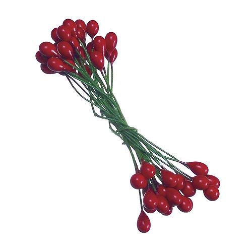 Ilex-Beeren, 6mm ø Bund 72Stück, rot