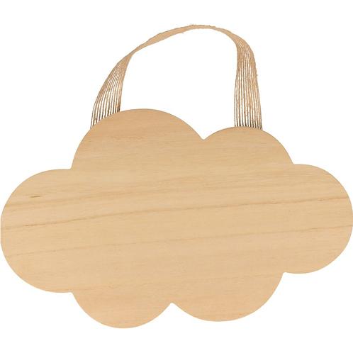 Holz Wolke zum Aufhängen 25x15.5cm natur