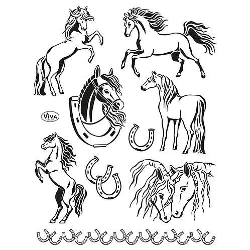 Silikon Stempel Pferde 14 x 18 cm