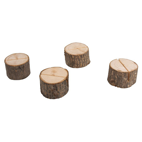 Kartenhalter Holzstamm 3-4,5cm, PVC-Box 4Stück