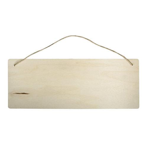 Holz Schild Rechteck, 40x15cm, Stärke 6 mm, mit Aufhänger aus Jutegarn