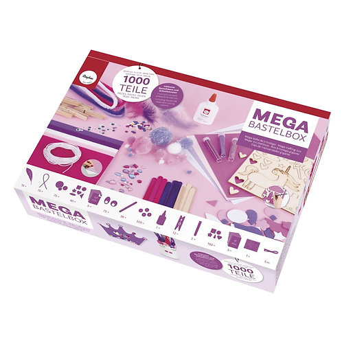 Mega-Bastelbox Unicorn 1.000 Teile weiß/pink/lila Töne, Box