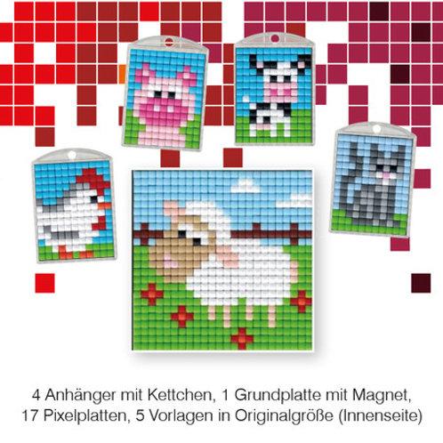 Pixel Bastelset 18 (4 Medaillons + 1 Grundplatte)