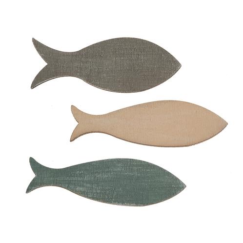 Holz Streuteile Fische 6.3x2.4x0.3cm 6St