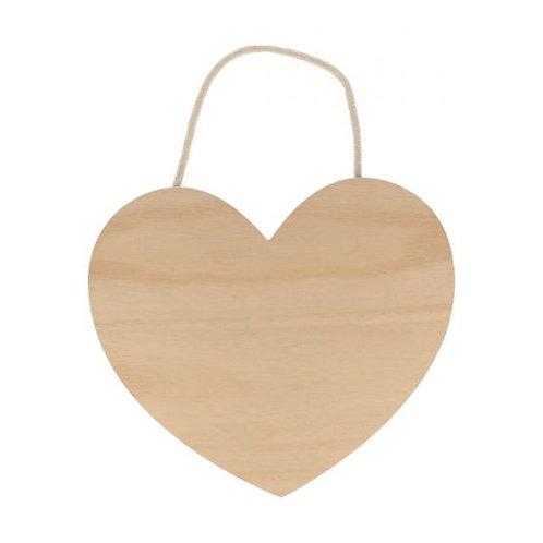 Holz Herz zum Aufhängen 25x22cm natur